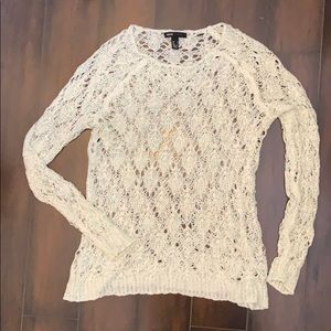 Mango cream/blue long sleeve open knit sweater